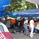 Teachers Strike closeup of tents