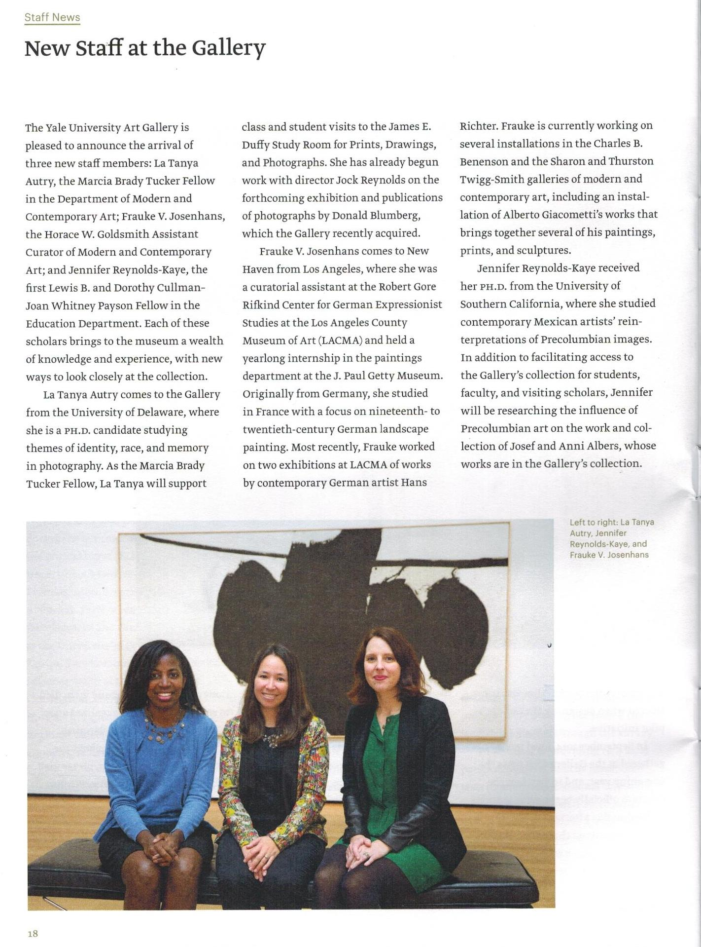 Jennifer Reynolds-Kaye in the YUAG Members' Magazine